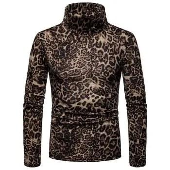 Men S Large Size Warm Turtleneck Sweater Leopard Long Sleeve Bottoming Shirt
