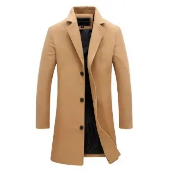 Men s Fashion Casual Solid Color Long Wool Blend Coat