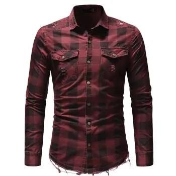 Burr Hem Plaid Pocket Decorated Denim Clothing Men s Long sleeved Shirt