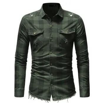 Burr Hem Plaid Long sleeved Men s Jeans Pocket Decoration Shirt