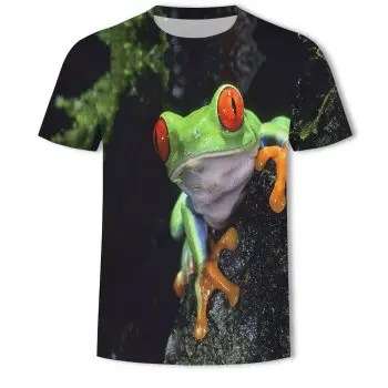 Fashion Trend Men s Digital Print Frog Pattern Short Sleeved T Shirt