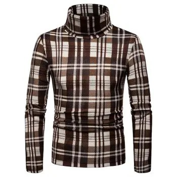 Men S Casual Turtleneck Sweater Plaid Long Sleeve Shirt