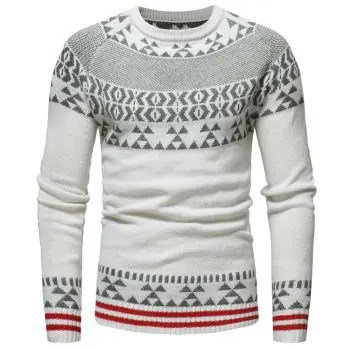 Round Neck Fashion Jacquard Men s Casual Knit Sweater