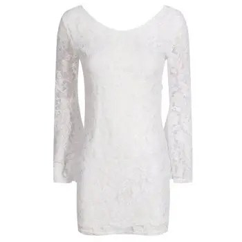 HAODUOYI Women s Sexy Halter Lace Slim Flare Cuff Hip Dress White