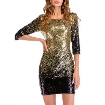 Women s Sexy Round Neck with Sequins Club Bodycon Dress