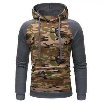Men s Camouflage Leisure Time Brush Sleeve Sweater Sweater Pullover