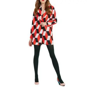Fashion Casual Long Sleeve Contrast Geometric Print Jacket