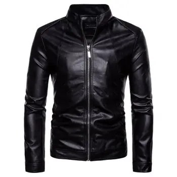 Autumn New Men S Stand Collar Leather Washed PU Leather Jacket