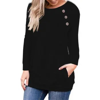 Women s Round Neck Solid Color Long Sleeve Button Pocket Casual Wild T shirt