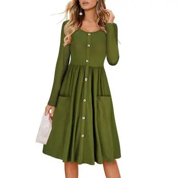 Women s Round Neck Solid Color Button Pocket Creases A line Casual Dress