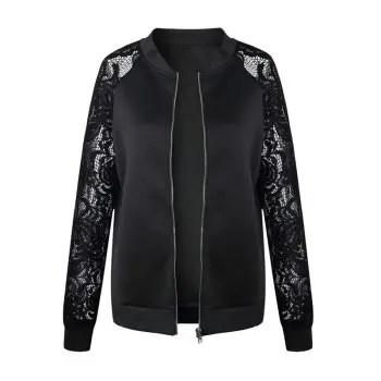 Women s Lace Patchwork Solid Color Long Sleeve Wild Jacket Short Coat