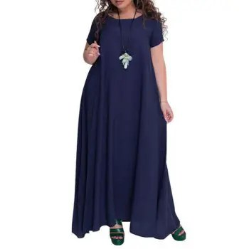 Plus Size Robe Solid Free Long Dress For Women Summer 2018 Big Size