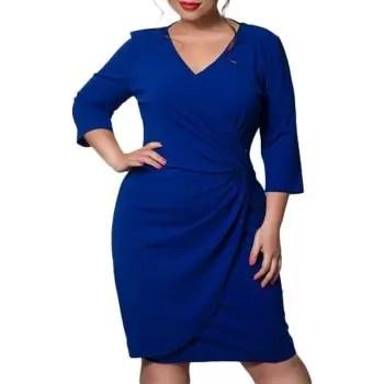 6XL Autumn Large Size Women Dress Three Quarter Thicken Blue Dress Deep V Neck
