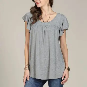 SBETRO Casual Women Shirt O Neck Pleated Solid Bell Sleeve Keyhole Back