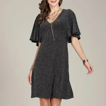 SBETRO Fishtail Club Dress Deep V Neck Bell Sleeve Party