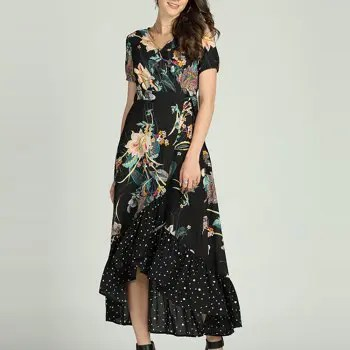 SBetro Floral Dress Big Swing Maxi Dress Beach Casual Fashion