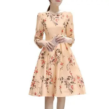 Women s A Style Dress with Seven Cuff Sleeves