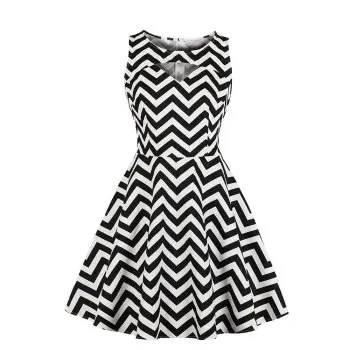 Stripe Contracted Vintage Dress