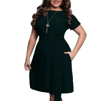 Plus Size Women Clothing Summer Style O Neck Bodycon Chiffon Dress