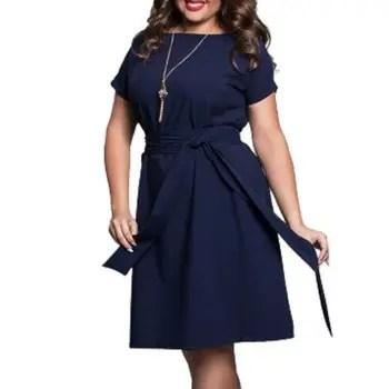 Plus Size Women Clothing Summer Style O Neck Bodycon Chiffon Dress Elegant Casua