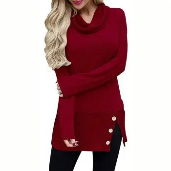 Long T   Shirt Women with High Collar and Long Sleeve Buttons in Autumn