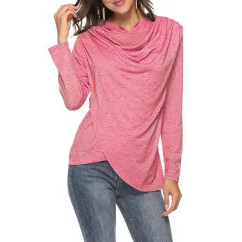 Women s Solid Color Long Sleeve Casual Hooded Irregular T shirt Chest Ruched Top