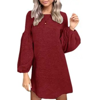 Women s Round Neck Solid Color Lantern Sleeve Loose Tunic Long Knit Sweater Tops