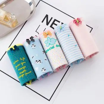 5 Pcs Boxed Cotton Underwear Fabric Waist Student Cute Hip Cartoon Girl Briefs