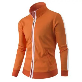 Men s Cardigan Stand Collar Casual Solid Color Long Sleeve Hoodie