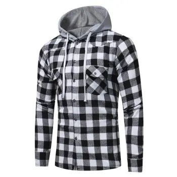 Men S Fashion Lattice with Hat Long Sleeved Cotton Shirt Youth