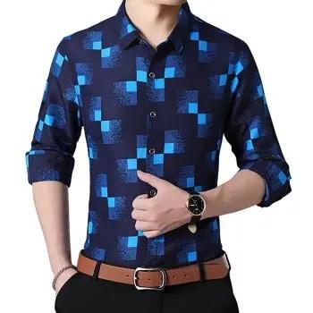 Men s Print Casual Lapel Long Sleeve Shirt