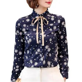 Women S Shirt Collar Dandelion Print Bow Plus Size Puff Sleeve Chiffon Shirt