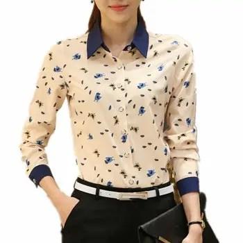 Wild Floral Print Color Block Plus Size Long Sleeve Chiffon OL Shirt