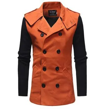 2018 New Men S Fashion Stitching Double Breasted Double Sided Slim Trench Coat