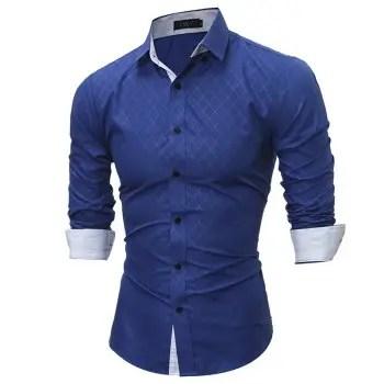 New Fashion Classic Lining Dark Ribbon Men S Casual Long Sleeve Shirt