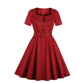 Lapel Buttons Pocket and Belt Color Dress