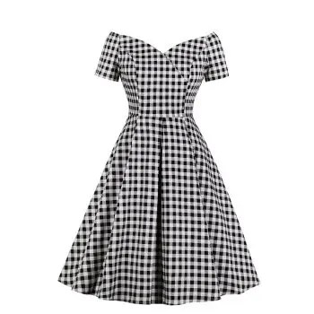 Deep V Neck Grid Pleated Dress