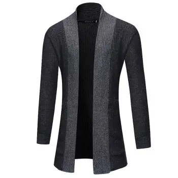 2018 New Men S Fashion Solid Color Cardigan in The Long Sweater