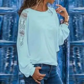 Women S T Shirt with Long Hollow Sleeves and Loose Lace