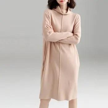 Autumn and Winter Loose High Collar Sweater Skirt