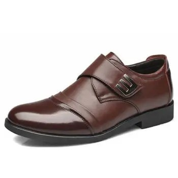 New Men Classic Color Blocking Hook Loop Business Casual Leather Shoes