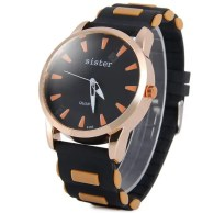 Sister 6195 Men Analog Watch Rubber Band Round Dial Wristwatch