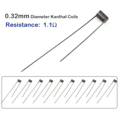 10pcs / Pack 0.32mm Diameter 1.1ohm Kanthal Resistance