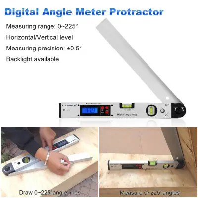 Gearbest Floureon 0~225 degree Protractor Spirit Level Digital Angle Meter - WHITE