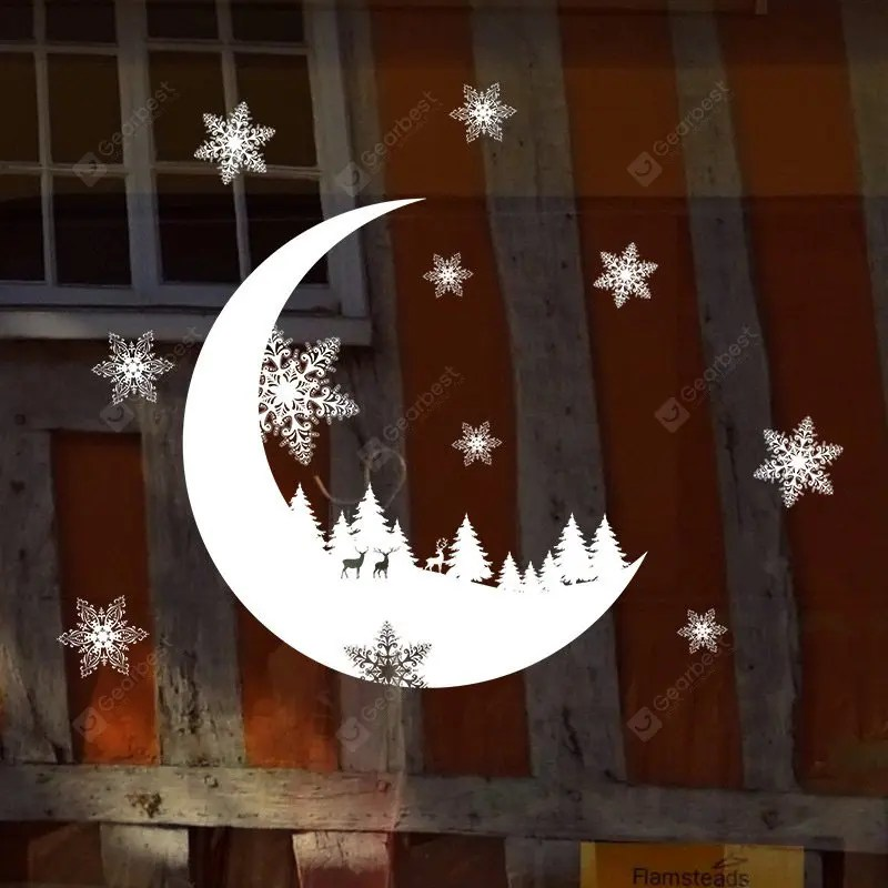 Christmas Cresent Snowflake Pattern Wall Stickers For