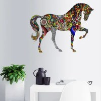 Floral Horse Pattern Waterproof Decorative Wall Decal ...