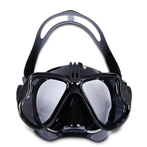 Gearbest Swimming Diving Goggles Full Dry Snorkeling Mask - BLACK for Action Camera