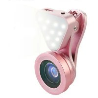 3-in-1 Wide Angle Macro Lens Phone Camera Photography LED Flashlight Lamp