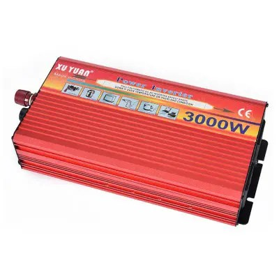 Gearbest XUYUAN Multifunctional 3000W High Power Solar Inverter - RED DC 12V to AC 220V / for Car / Household
