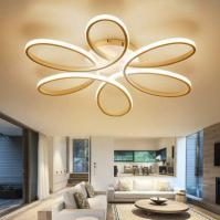 EverFlower Modern Simple Floral Shape LED Semi Flush Mount Ceiling Light With Max 75W Painted Finish